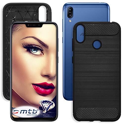 mtb more energy® Hülle Carbon für Asus Zenfone Max M2 (ZB633KL, 6.26'') | Schwarz | flexibel | TPU Case Cover Tasche Schutzhülle
