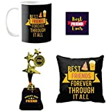 Yaya Cafe Friendship Day Gifts For Best Friends Pizza And Popcorn Best Friends Set Of 4 Mug, Coaster, Trophy, Cushion Cover