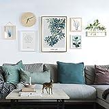 KTYX Nordischen Stil Kombination Malerei Massivholz Foto Wand Sofa Hintergrund Wand modernen minimalistischen 214 * 83 cm (einschließlich Regal + Uhr + Fotorahmen) (weiß + Grundfarben) Bildrahmen