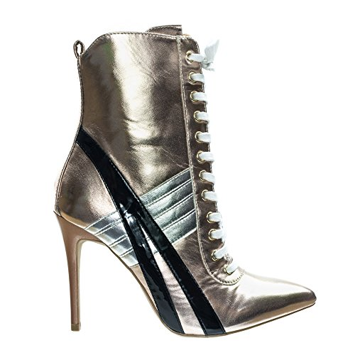496edf2153689 Wild Diva Lace up High Heel Sneaker Above Ankle Bootie, Color Block &  Pointed Toe Gold Size: 6