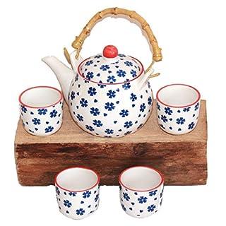 AAF Nommel®, Asia-Art-Factory, Teeservice Teeset Ruka weiss blau Blumen mit Bastgriff Keramik, Nr. 270