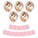 Geila Buon compleanno Banner & 5 pezzi 12 pollici oro coriandoli palloncini puntini palloncini festa (coriandoli sono stati messi nei palloncini) per decorazioni per feste di compleanno (oro rosa)