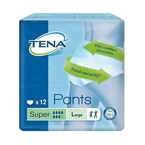 TENA Pants Super - große (L) Schutzhosen für starke Blasenschwäche / Inkontinenz - atmungsaktiv, sehr diskret & doppelter Auslaufschutz - (12 Einwegschutzhosen)