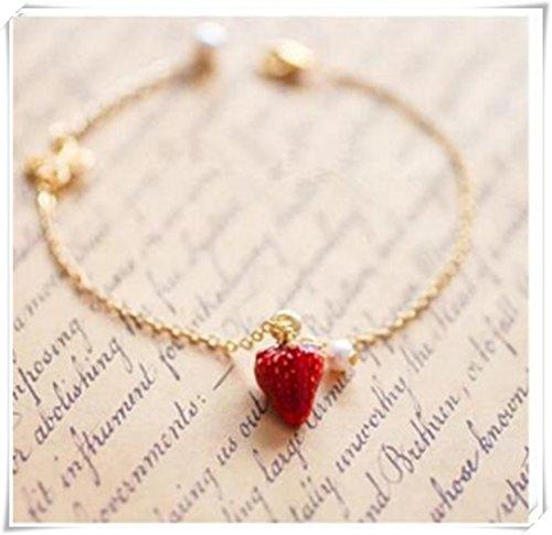 Ciondolo Charm braccialetto, Fragola, Fragola, regolabile, cibo, personalizzato bracciale iniziale