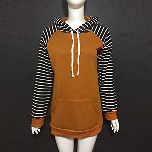 Amlaiworld mode Stripe Flickwerk dick pulli Langarmshirts damen Niedlich sport Sweatshirt Winter Herbst Kapuzenpullover mit Tasche Braun