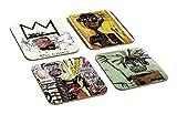Jean Michel Basquiat Contemporary Art 4TEILIGES Holz-Untersetzer Set