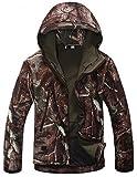 JIINN Herren Mountain wasserfeste Camouflage jacke Mantel Regenjacke Windjacke Kapuze Tragebeutel Camping Outdoor Softshell Camo Jacket (EU X-Large, DE#MC-06)