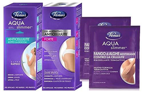 VENUS ANTICELLULITE TRATTAMENTO FORTE con Gel Multiattivo + Aqua Slimmer Sotto la doccia + 2 Fanghi