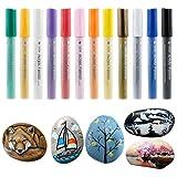 Marker Pen, Comius 12 Colores Rotuladores de Pintura Acrílico para DIY, Dibujar, Colorear, Diseño de Taza, Sobre Madera, Piedras, Tela, Vidrio, Cerámica,Metal, Cerámica, Plástico