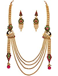 JFL - Traditional And Ethnic One Gram Gold Plated Stones & Diamonds Peacock Designer Long Necklace Set With Earring...