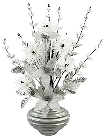 Silver Diamante Glitter Artificial Flower in Grey Vase, Table Decorations, Home Accessories, Window Ornament, Living Room Flowers, Height