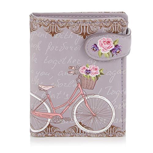 Shagwear Portemonnaie Geldbörse für Junge Damen - Mädchen Geldbeutel portmonaise Designs: (Paris Fahrrad/Paris Bike Purple)