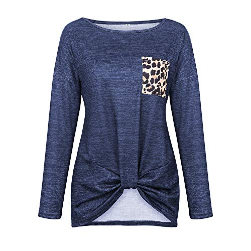 x8jdieu3 Damenmode Sexy Leopardenmuster Langarm Top Twisted Sweatshirt Lose Tasche Verknotet T-Shirt Bluse Tunika Top