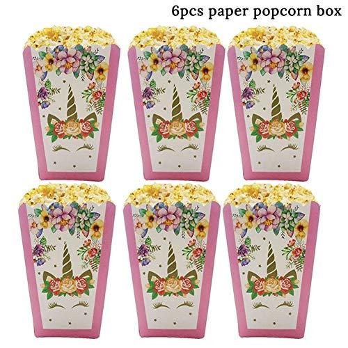 YANODA Einhorn Party Supplies Rosa Regenbogen Einhorn Banner Platten Luftballons Serviette Cupcake Wrapper Baby Dusche Kinder Geburtstag Dekorationen (Color : 6pcs Popcorn Boxes)