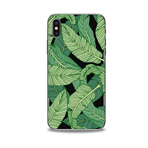 Coque iPhone X Housse étui-Case Transparent Liquid Crystal en TPU Silicone Clair,Protection Ultra Mince Premium,Coque Prime pour iPhone X-Les feuilles-style 5 1