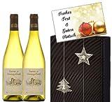 Luxus Weihnachtsgeschenk WHITE Weinpräsentbox Blanc in 2er Geschenkverpackung schwarz silber mit Weihnachtskarte auf Wunsch Weihnachten Christmas für Weinkenner Frankreich Spanien Italien