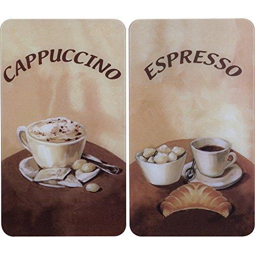 Wenko Coprifornelli Universal Coffee, Set 2 Pezzi per Tutti i Tipi di Piani di Cottura, Vetro Temperato, Materiale Plastico, 52 x 30 cm, Grigio Chiaro, caffè