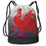 Sacs de Sport, Sacs à Dos, Red Rooster Drawstring Backpack Compartment Sport Bags...