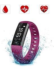 Bracelet Connecté, SAVFY Montre Connectée Sport Fitness Tracker d'Activité Montre Cardio Étanche IP67 Bracelet Intelligent Podomètre Calories Sommeil-Bluetooth 4.0 Smart Bracelet d'Activité pour Femme Homme Sport / iPhone et Android - Violet