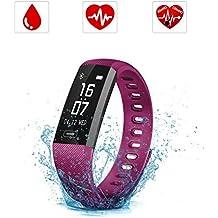 Pulsera Inteligente, SAVFY IP67 Nivel de Resistente al Agua Pulsera Actividad, Ritmo Cardíaco Presión Arterial y Oxímetro Fitness Tracker, Pantalla táctil OLED Bluetooth 4.0 relojes inteligentes para Android y IOS, Púrpula