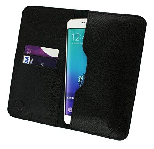 Emartbuy® Noir Magnétique Mince Étui Coque Case Cover en Authentique Cuir Veau ( Taille 5XL ) Adapté Pour Apple iPhone 6 Plus / iPhone 6s Plus Noir Cuir Magnétique Étui ( 3XL )