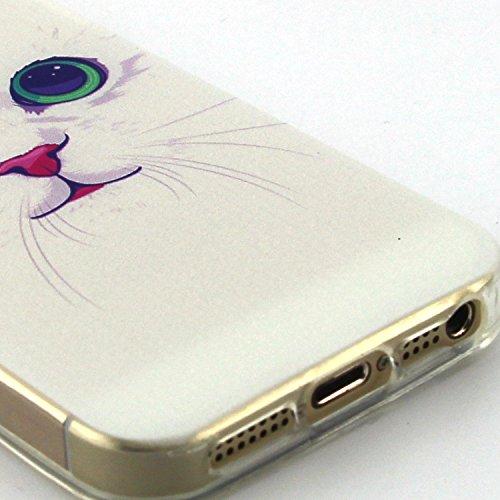 iPhone SE Hülle Silikon Schutzhülle Tasche Case,iPhone 5S Weiches Silikon TPU Gel Bumper Case Etui Schale Cover Skin,Herzzer Modisch Hochwertig Ultra Dünn Slim Thin Bunt Handytasche Mit [Witzige Sprüc Weiße Katze