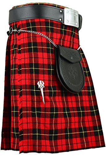 Scozzese tradizionale Kilt Wallace Tartan tutte le misure Red 36W