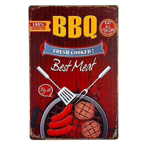 ipekoo BBQ Frisch gekocht Beste Fleisch Metall Schild Blechschild Pub Metall Poster Distressed Retro Vintage Wand Metall Dose sign12X 8(A) -