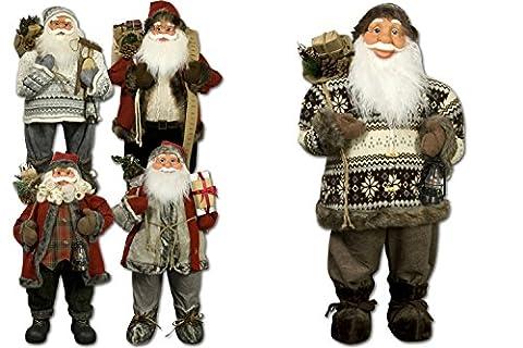JEMIDI Weihnachtsmann 80cm Deko Nikolaus Santa Clause Figur Groß Weihnachts Deko Holz (Martin)