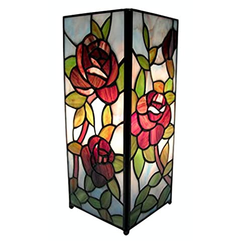 Tiffany Style Square Red Rose Design Table Lamp 27.5cm + Free Bulb