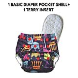 superbottoms Soft Fleece Lined Pocket Diaper with 1 Wet-Free Insert with Snaps (Crown)