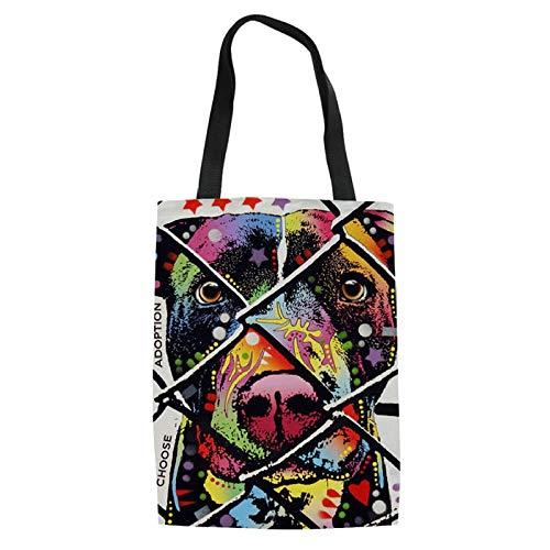 SHOUTIBAOBAO Handtasche Leinwand,3D Fashion Frauen Shopping Bag Abstract Zaun Hund Retriever Zeichnung Damen Handtaschen Jugendmädchen Leisure Travel Wiederverwendbare Einkaufstasche