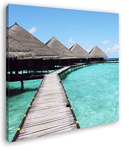 deyoli Paradis am Meer im Format: 40x40 als Leinwandbild, Motiv fertig gerahmt auf Echtholzrahmen, Hochwertiger Digitaldruck mit Rahmen, Kein Poster oder Plakat