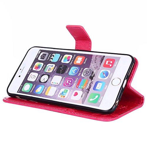 JIALUN-Telefon Fall Solid Color Embossed Blumen Pattern Schutzhülle Tasche Tasche mit Lanyard & Card Slots für iPhone 6 Plus & 6s Plus ( Color : Gray ) Red