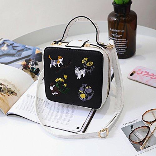 kettenbeutel schlagfarbenstickerei Liu Ding Weibliche art und Weiseschulterbeutel einfaches diagonalpaket Schwarz mit Weiß