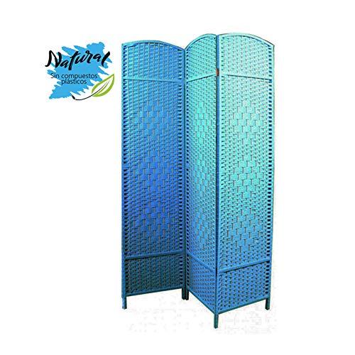Biombo Separador Grande, Azul de Bambú, 3 Paneles, en Salon y Dormito