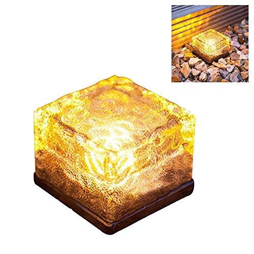 Leegoal Solar-Leuchten Glas Brick, 1Pcs LED Solar Garten Lampen Ice Cube Path Licht für Outdoor Dekoration warmweiß (Brick Pc)