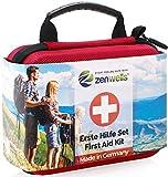 Erste Hilfe Set - Perfekt für Wandern, Outdoor, Fahrrad, Sport und Reisen - First Aid Kit und Reiseapotheke mit BONUS Notfall Trillerpfeife, Pinzette und Karabiner