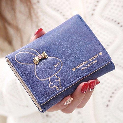Breve Portafoglio Donne Portafogli in PU pelle pulsante della frizione della borsa Cartella Blu zaffiro Blu zaffiro