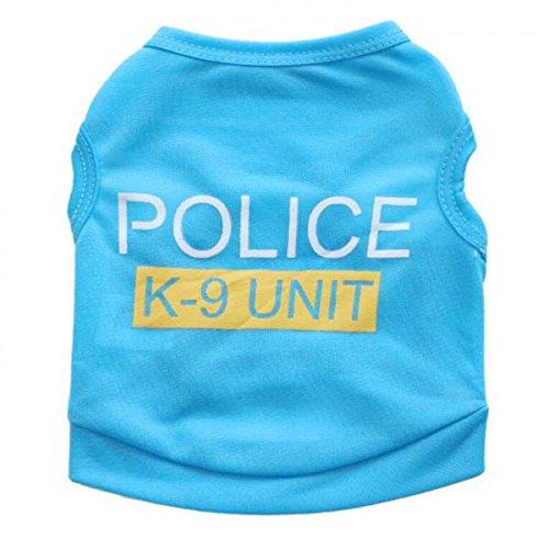 Generic Pet Dog Puppy Cat Clothes Jacket Hoodie Police Vest Costume Coat - blue, XS
