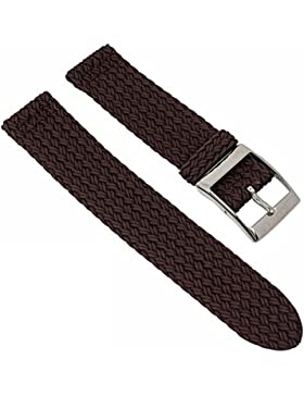 Perlonband Zweiteliges Band, geflochten - Uhrenarmband 20mm 28932S, Farbe:braun