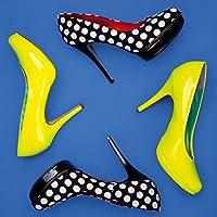 Eurographics Oro Tacco Alto Scarpe 30x 30, plastica, Colourful High Heels On Blue I 30x30, multicolour, 30 x 2.6 x 30 cm