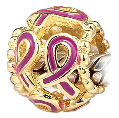 La lutte contre le Cancer du sein rose avec ruban émail-Plaqué or 14 K Charm en argent Sterling Compatible avec les Bracelets Pandora Biagi Troll Chamilia Beads Bracelet de Style Europen