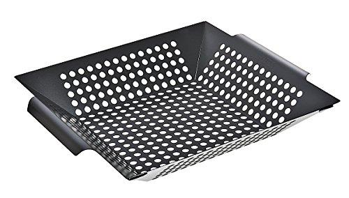 Santos Grillwok rechteckig breit beschichteter Stahl - Maße 30,5 x 30,5 x 6 cm - Grillkorb, Gemüsekorb, Grillschale