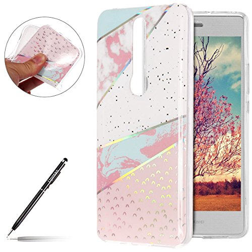 Marbre Coque Huawei Mate RS , Coque Huawei Mate RS Silicone Motif Marbre,Uposao Huawei Mate RS Bling Sparkle Paillettes Housse Brillant de Protection Marbre Ultra-Mince Glitter Paillette TPU Silicone Souple Premium Hybrid Bumper Huawei Mate RS Luxury Galvanoplastie Case Cover pour Homme Femme Fille avec Cadre Transparent View Protecteur Coque Anti Rayures Anti Choc Swag Shell Skin Extra Slim Couverture Etui pour Huawei Mate RS - Série Mable;Rose+Blanc