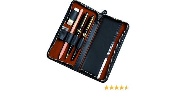ALASSIO Etui pour 3 instruments d/écriture en cuir noir