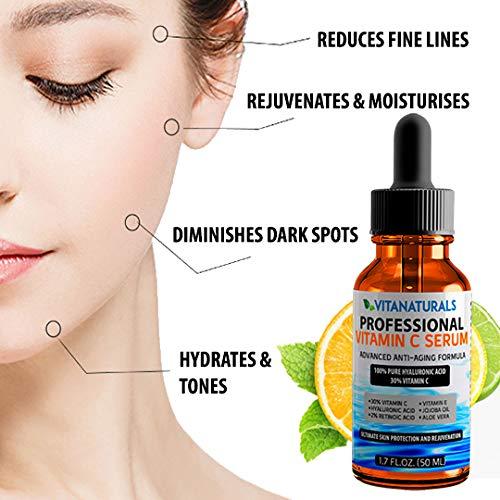 Vitanaturals professionelles 30% Vitamin C Serum mit 100% reiner Hyaluronsäure, Retinsäure,...