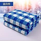 Znzbzt Double couverture couverture étudiant seul hiver couvertures couverture en polaire double épaisseur des couvertures de mariage lits superposés et des couvertures, lit 180x200cm, bleu et blanc