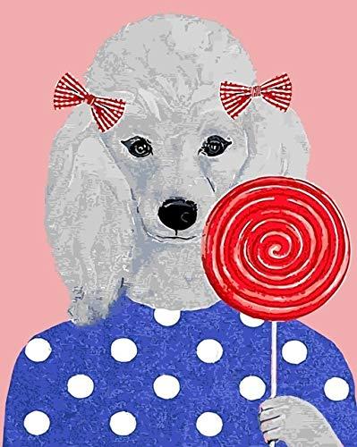 Malen Nach Zahlen Schöne Hunde Für Kinder Husky Hund DIY Digitale Gemälde Zahlen Malen Nach Zahlen Ölgemälde Bilder Auf Baumwolle Kinderzimmer Dekor 40X50Cm (Husky-starter-kit)