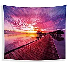 JLA Tapestry, Sunrise And Sunset Wall Hanging, Fitted Living Room Bedroom Corridor Kitchen Decor, Multi-Function Cushion, Beach Towel, Tablecloth, Polyester,B,200X150cm